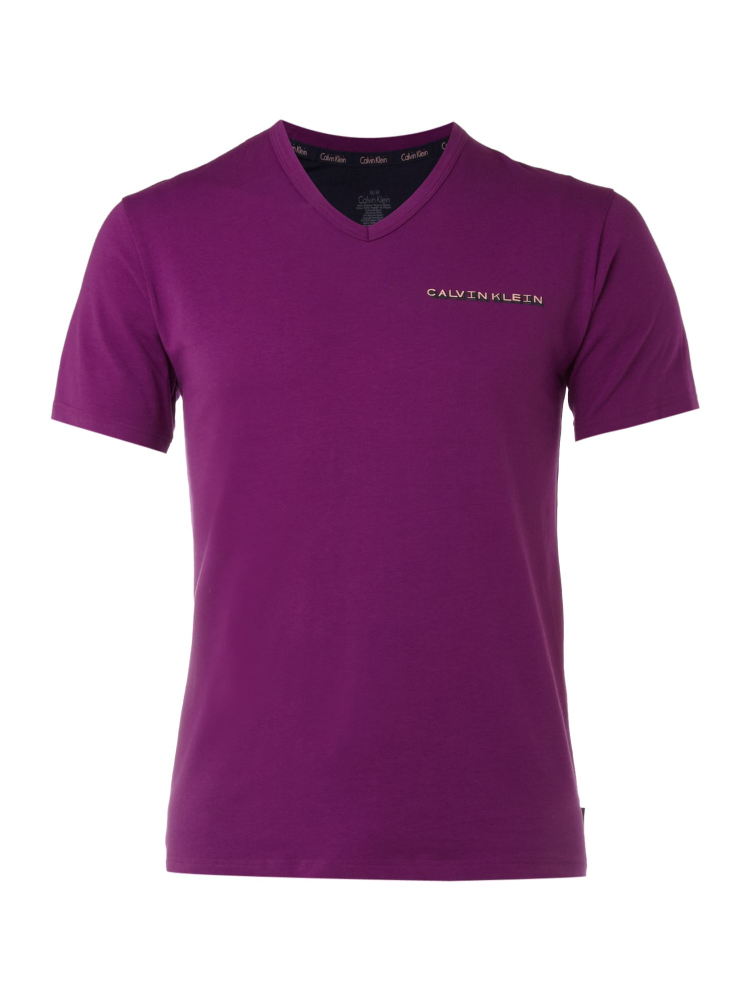 Calvin Klein Vneck t-shirt with logo - Purple product image