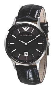 Emporio Armani AR2411 Classic Black Leather Mens Watch