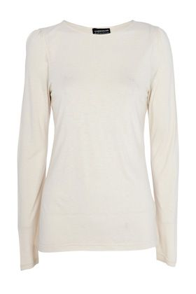 Long sleeve slash neck top - Natural