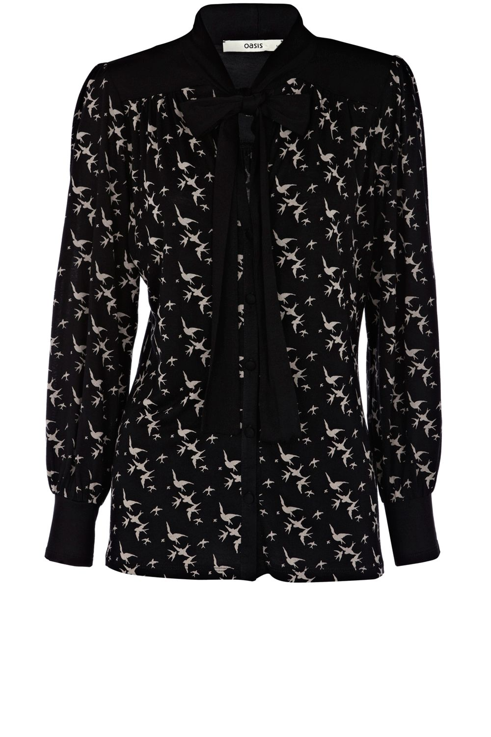 Oasis Bird print pussy bow blouse - Multi-Coloured product image