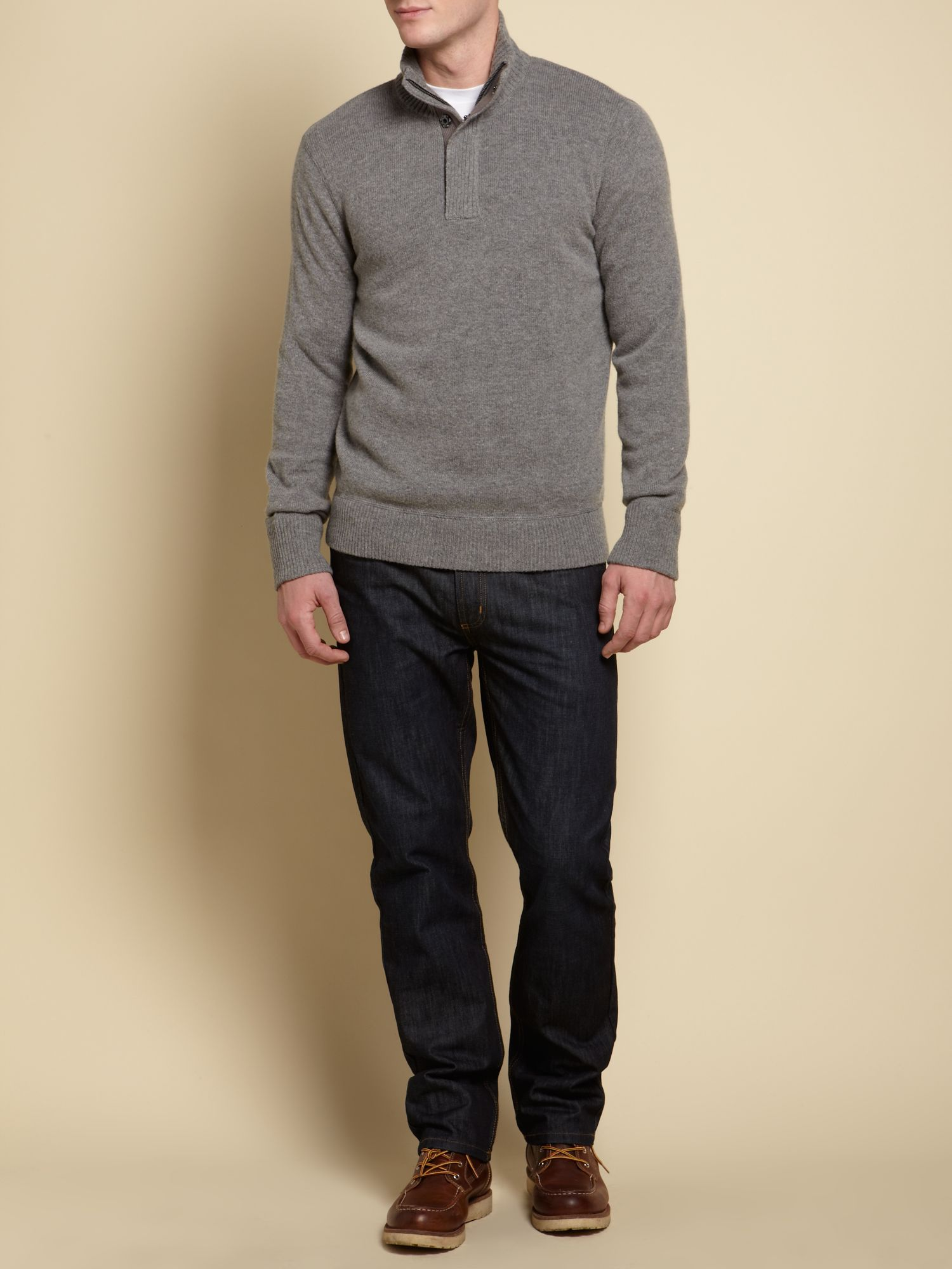 The heathmoor lambswool zip neck jumper