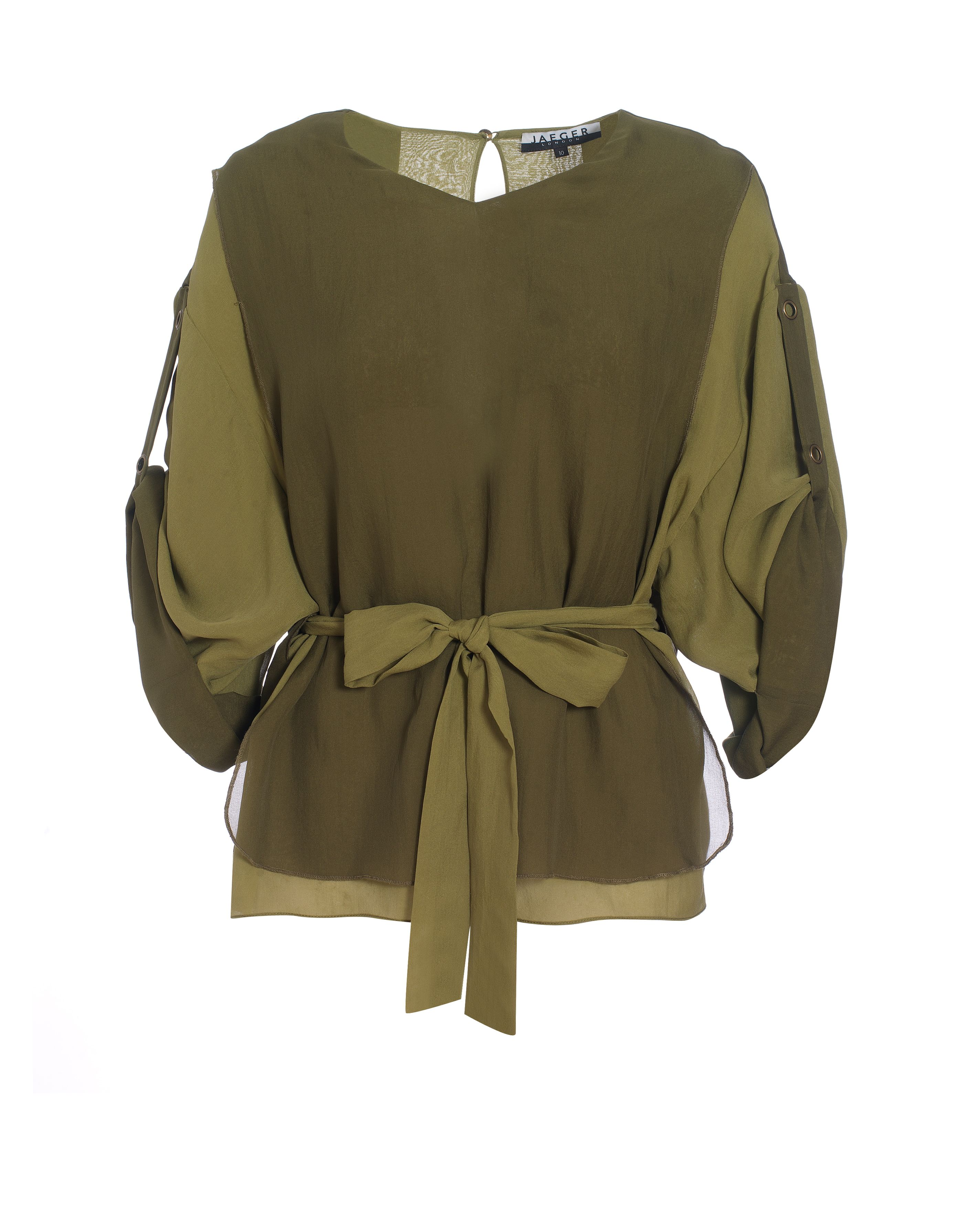 Jaeger Womens Jaeger Layered silk blouse, Khaki product image