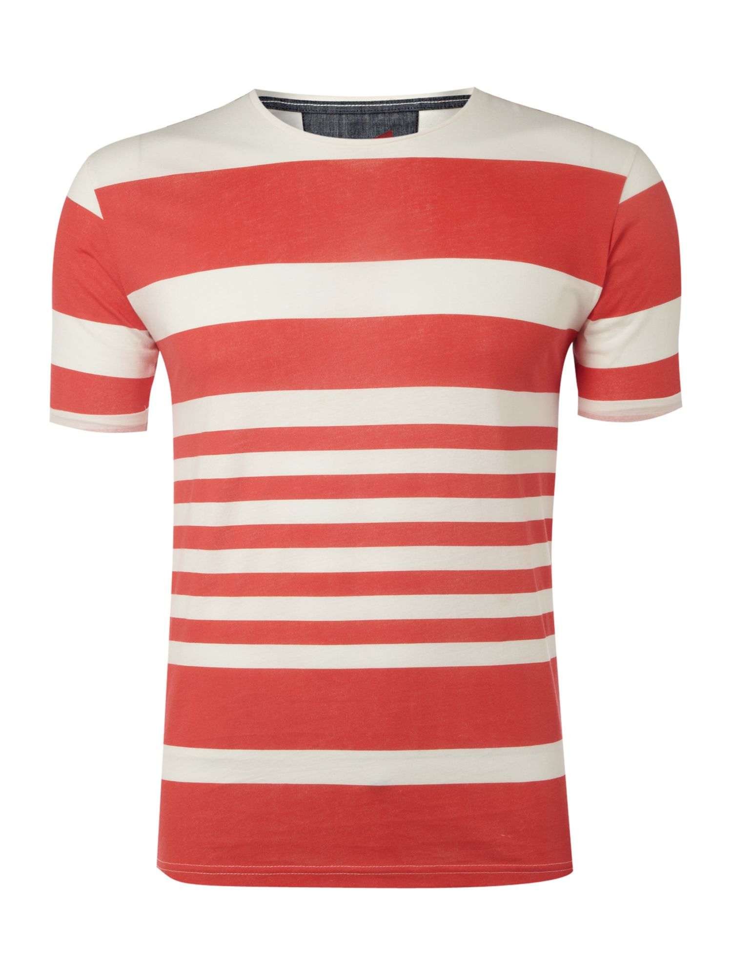 Selected Short-sleeved horizontal striped T-shirt - Coral product image