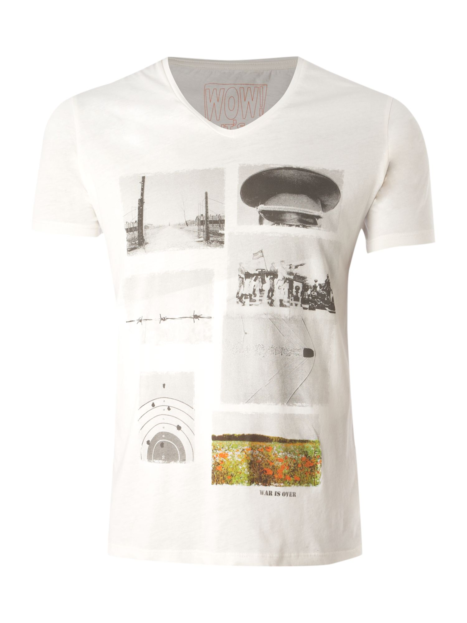 Selected Short-sleeved low V-neck printed T-shirt - Off product image