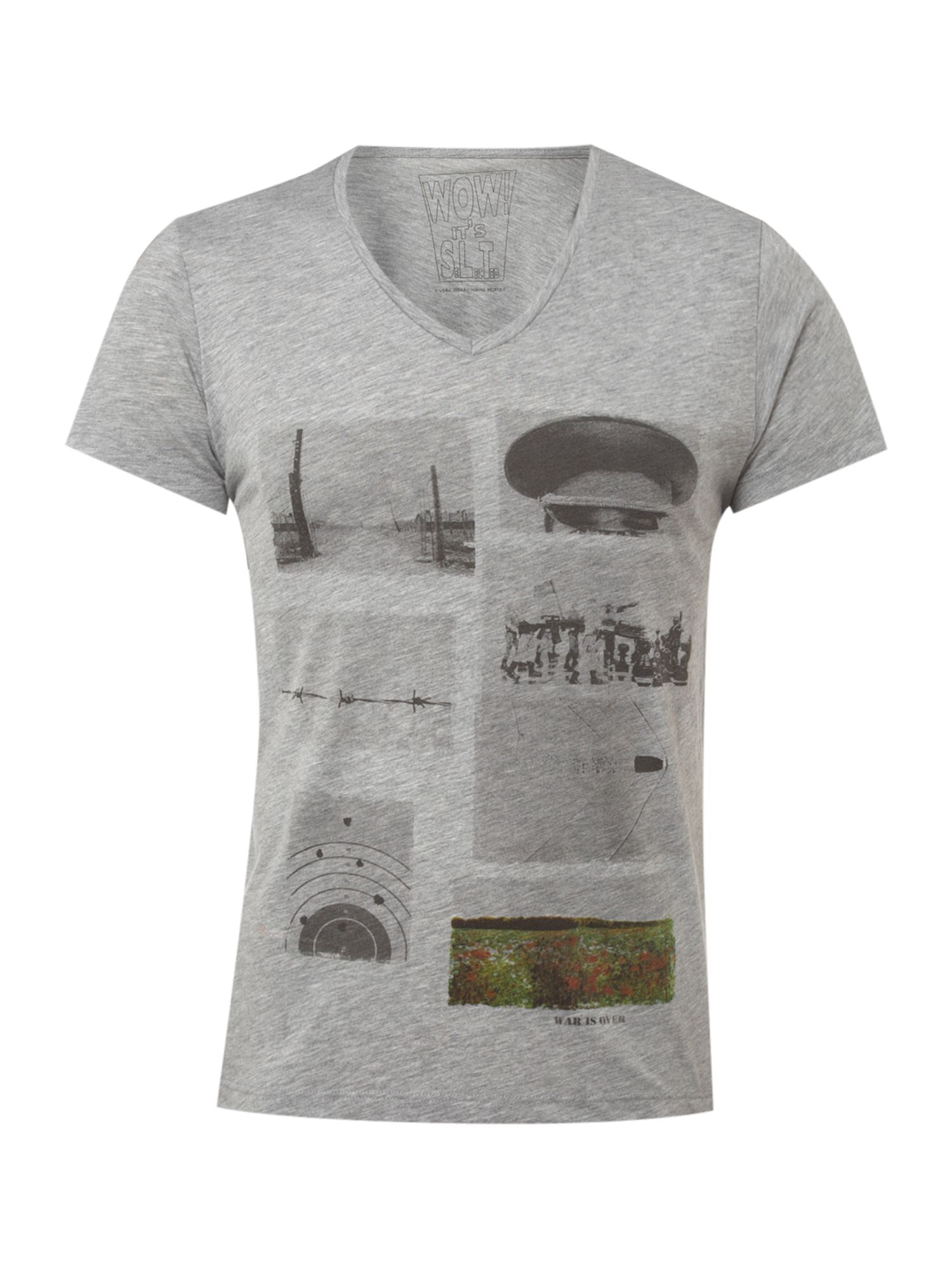 Selected Short-sleeved low V-neck printed T-shirt - Light product image