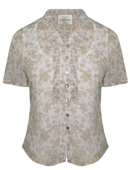 Eastex Short sleeve crinkle floral blouse - Stone product image