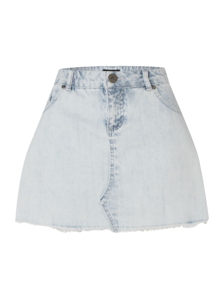 Therapy-Bleached-Denim-Skirt-In-White