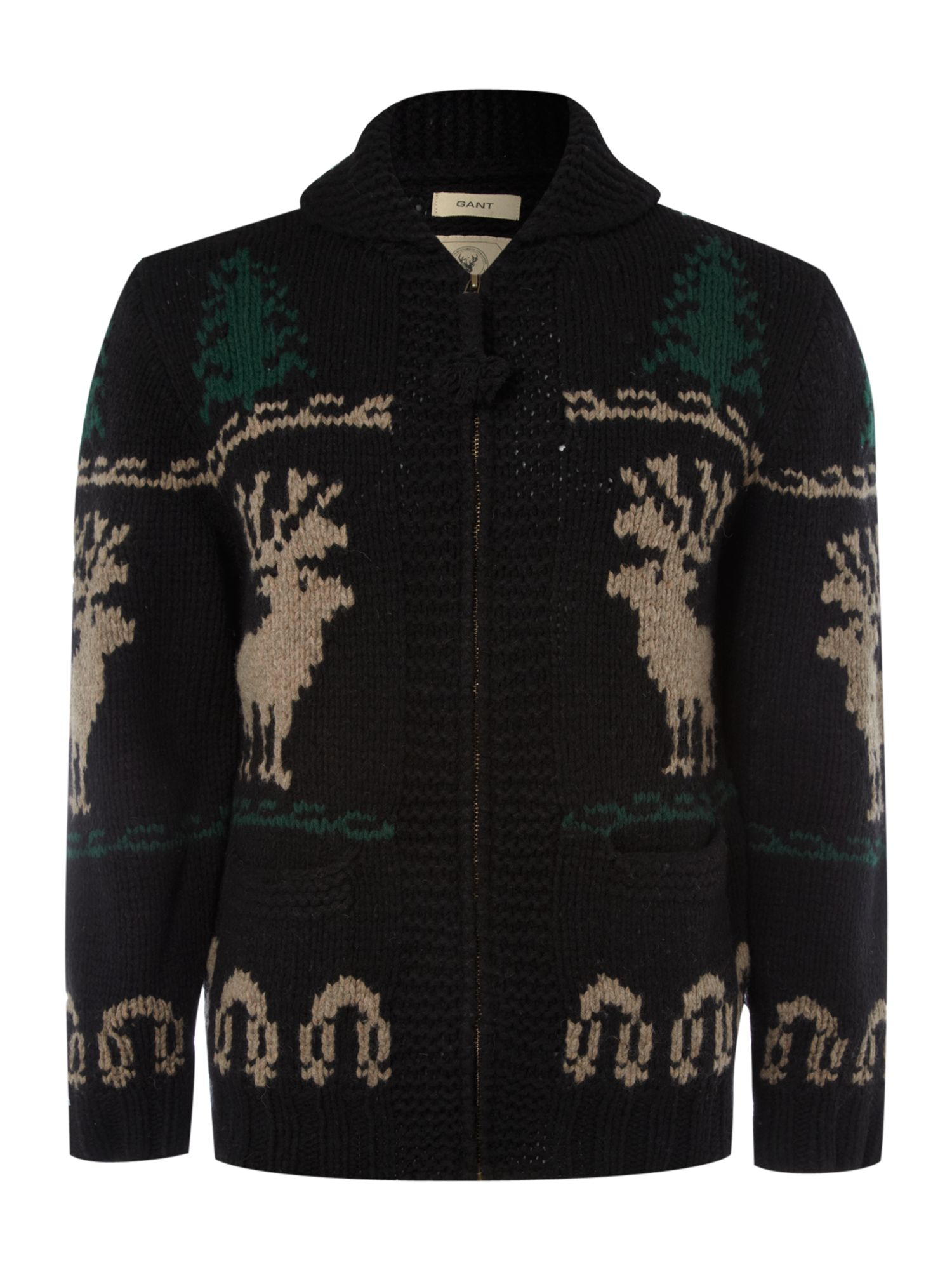 Shawl neck reindeer jumper