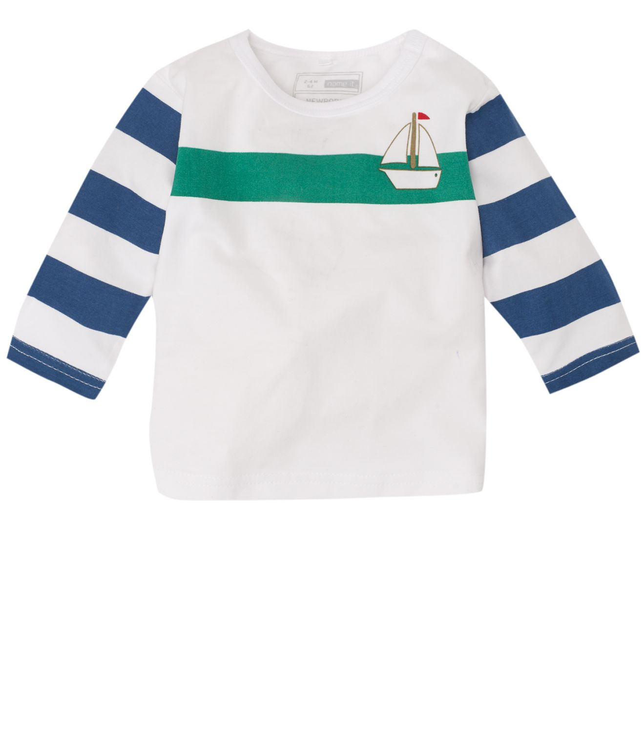 name it Long-sleeved striped T-shirt - Green `4-6 product image
