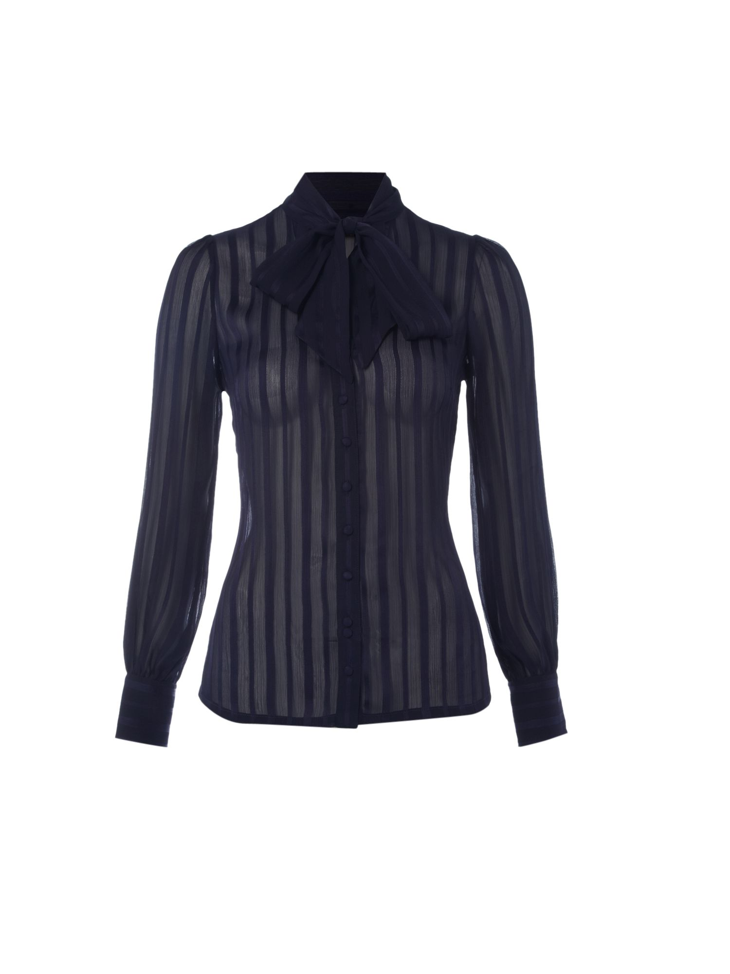 Womens Biba Satin and sheer stripe blouse,