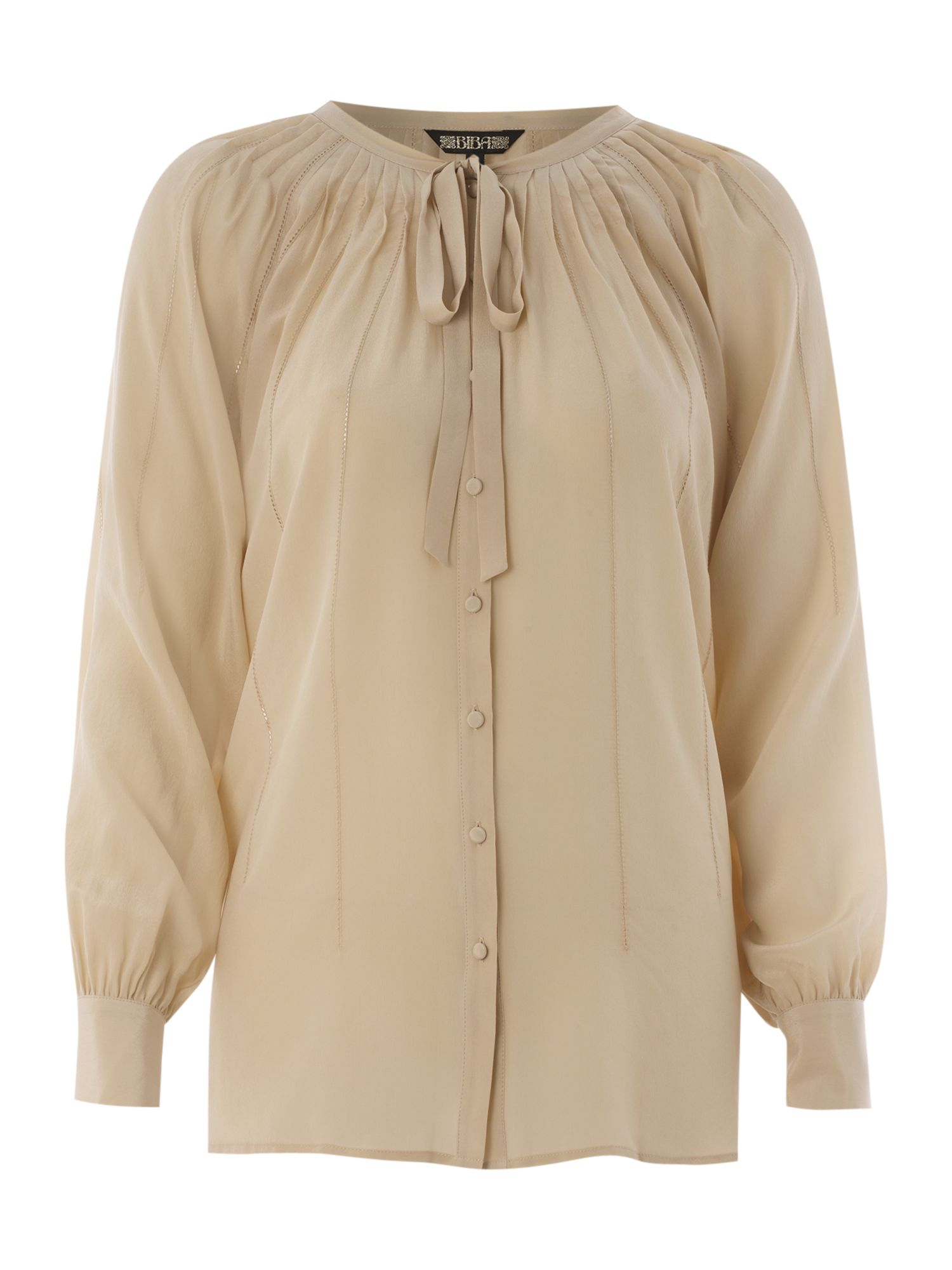 Tie front silk peasant blouse, Buttermilk