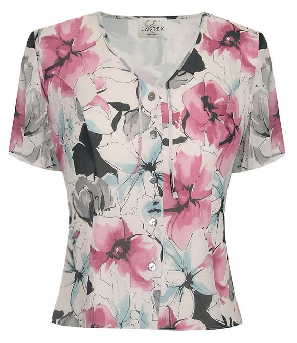 Eastex Etched pansy short sleeve blouse - Pink product image