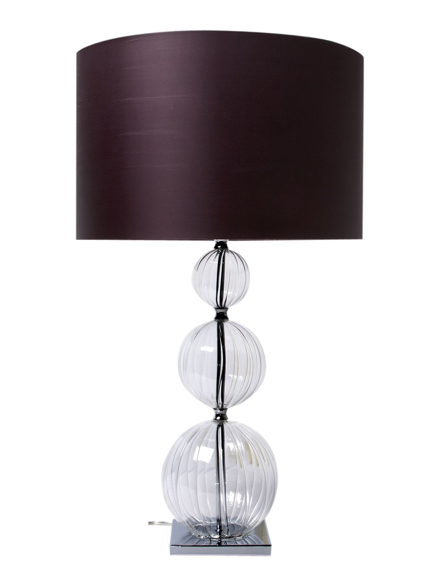 Opollo glass table lamp with plum shade