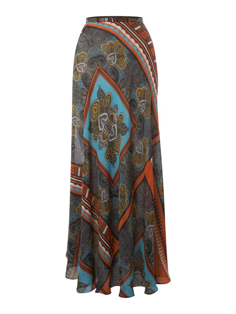 Therapy-Scarf-Print-Maxi-Skirt-In-Multi-Coloured