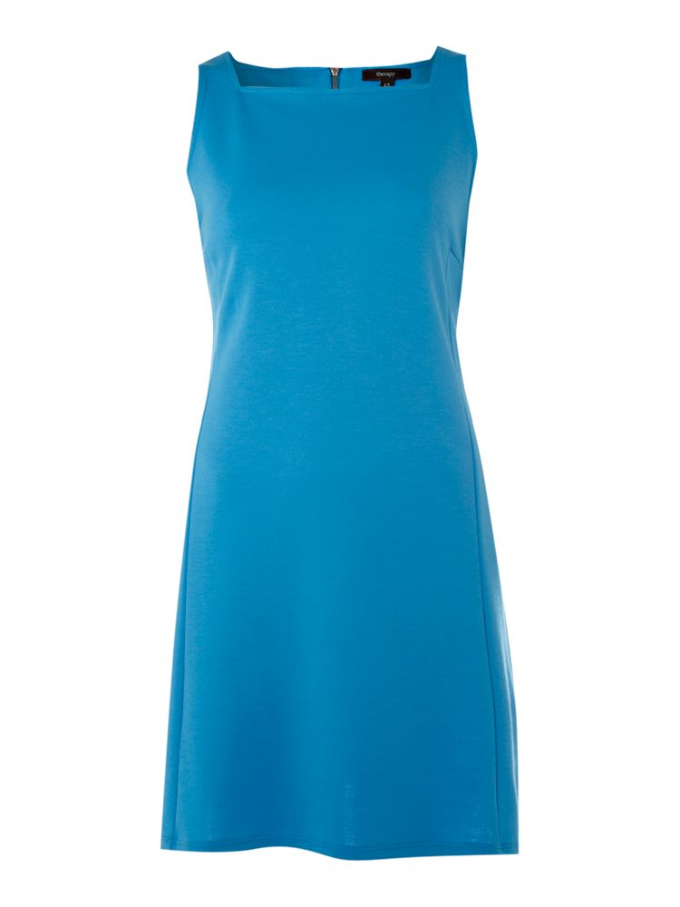 Therapy-Square-Neck-Ponti-Dress-In-Turquoise