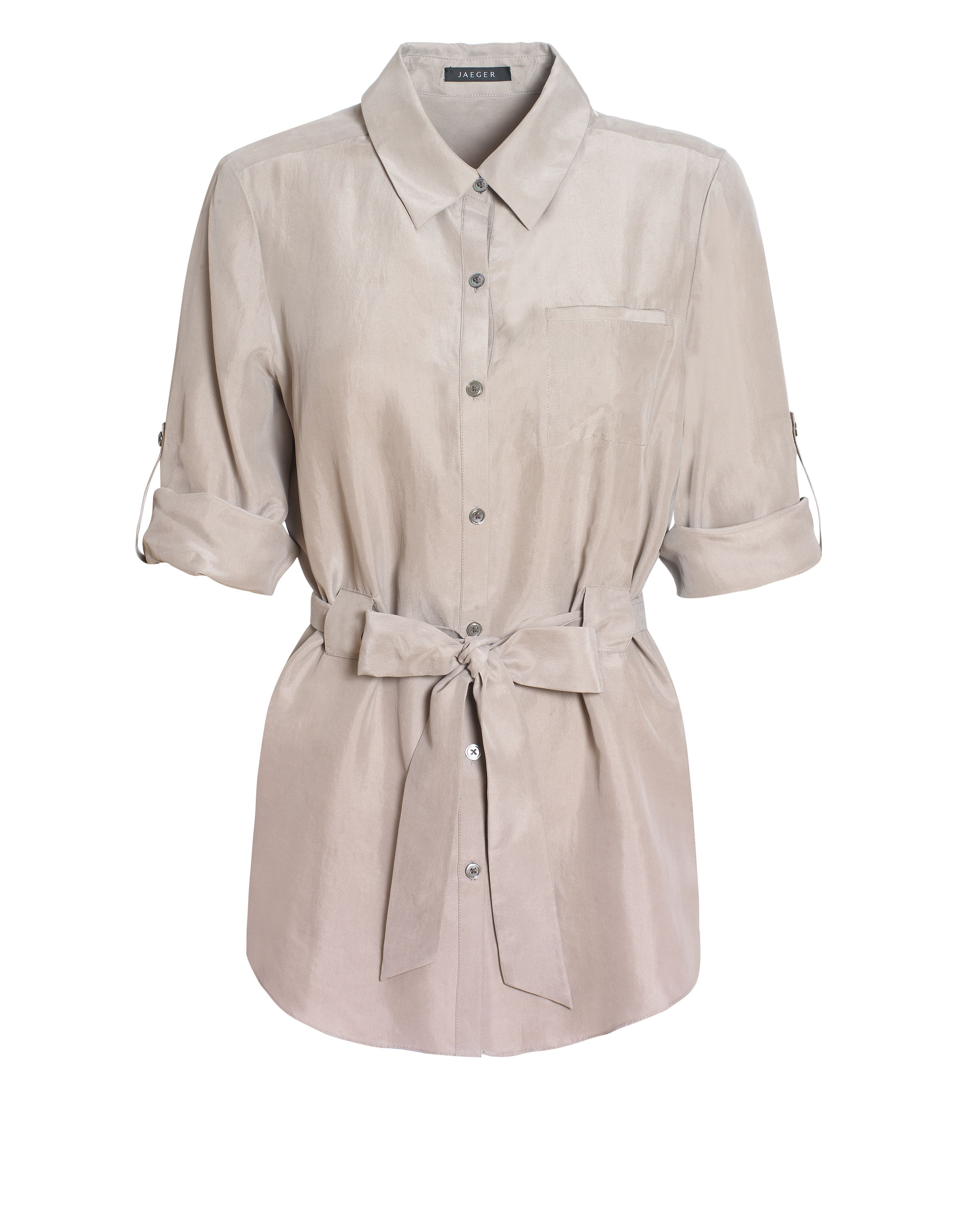 Jaeger Womens Jaeger Silk belted blouse, Smoke product image