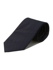 Navy white pin spot silk tie