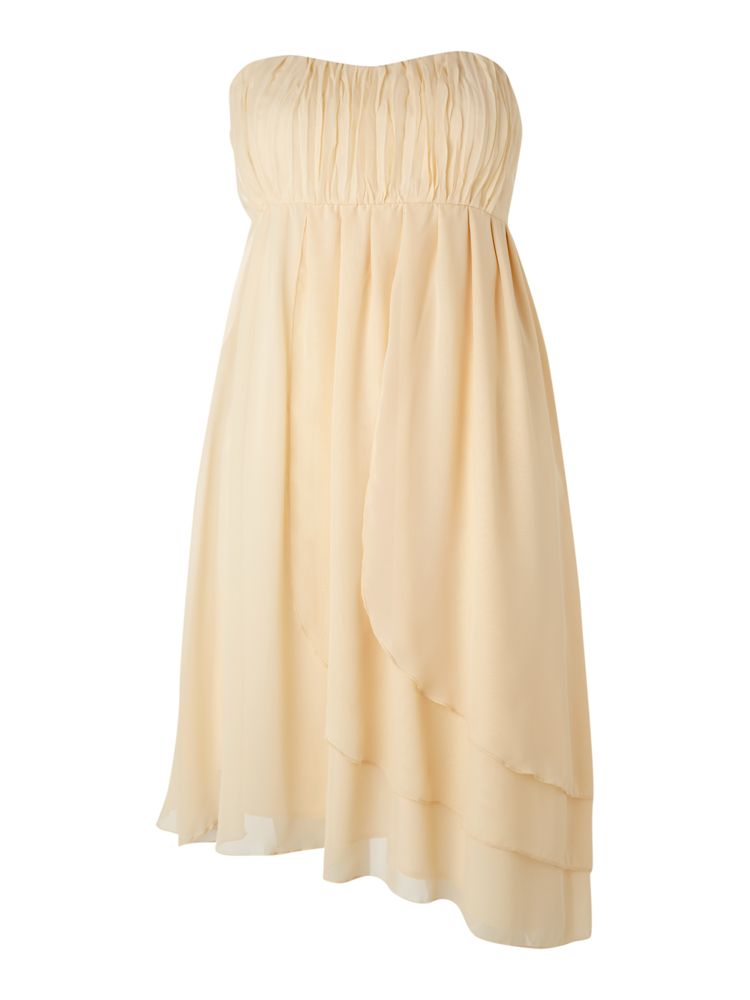 Vila-Strapless-Asymmetric-Dress-In-Tan