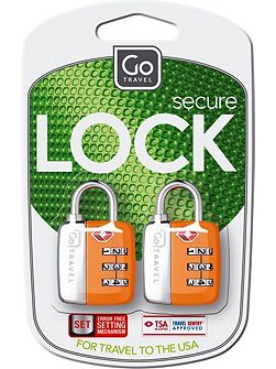 Twin travel sentry padlocks, assorted colours