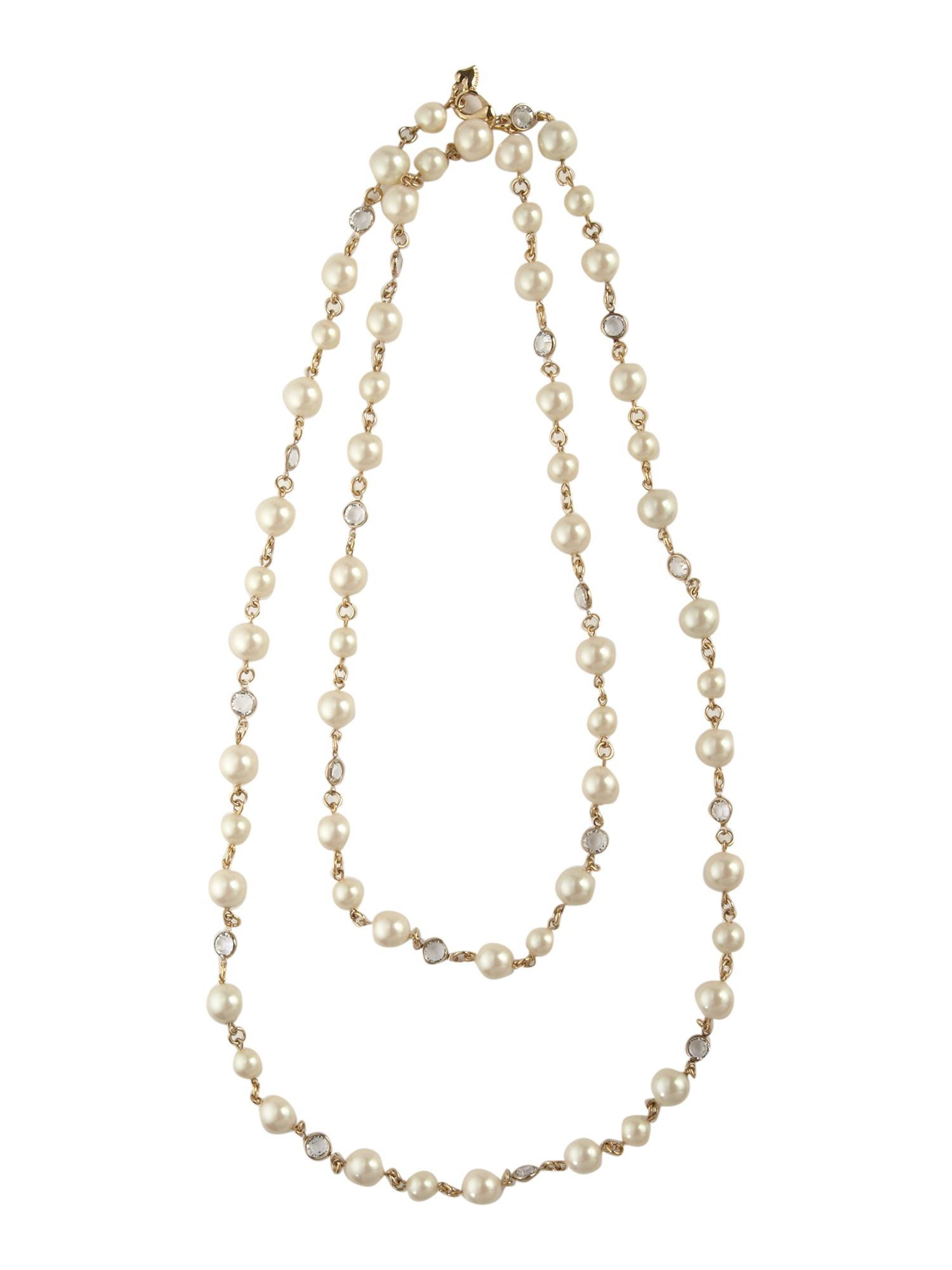 Carolee White pearl crystal 48 strand necklace