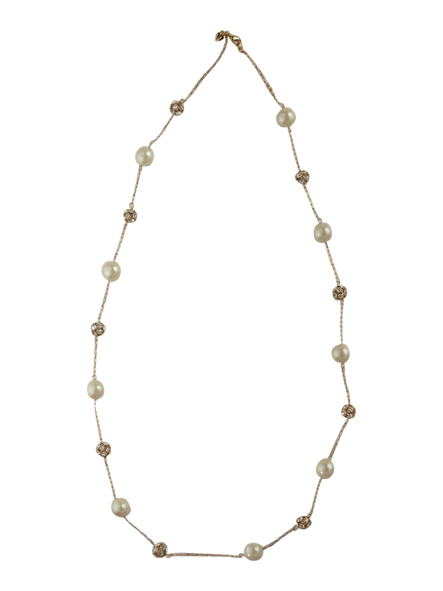 Carolee Gold tone pearl 36 fireball illusion necklace