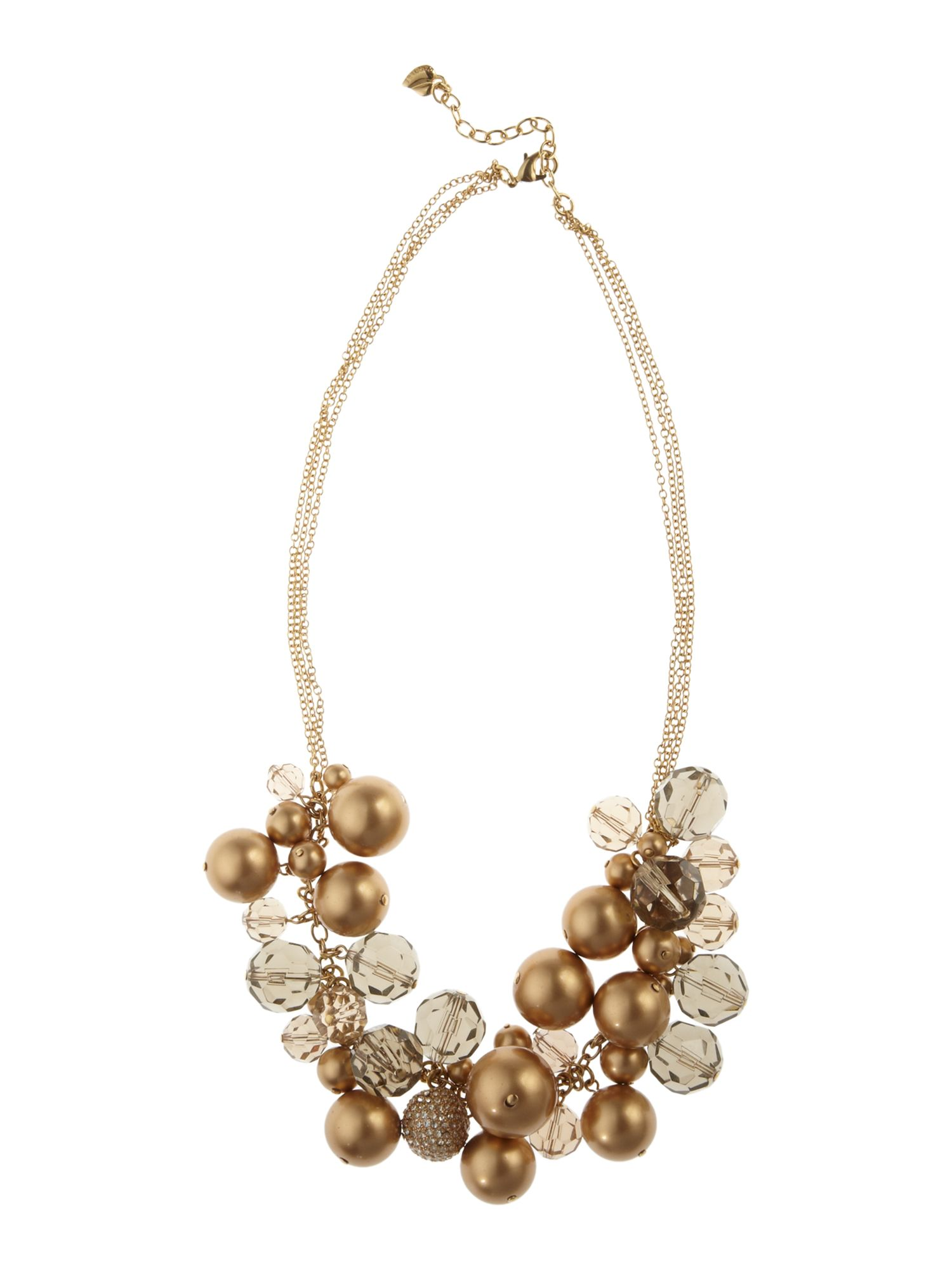 Carolee Gold pearl bead 20 bold cluster necklace