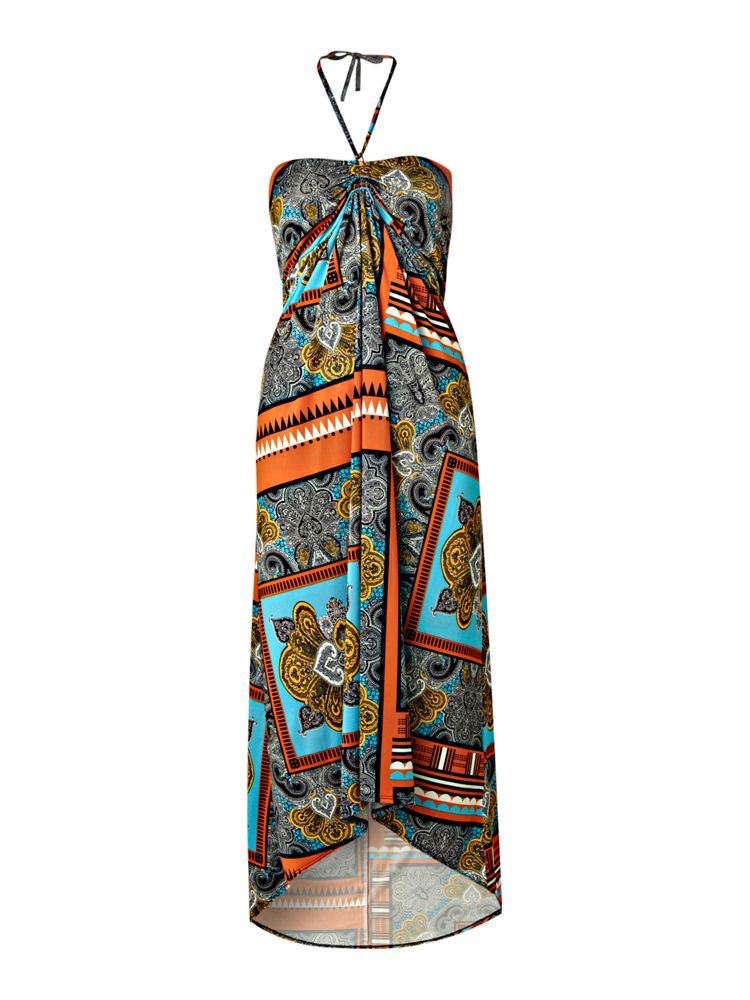 Therapy-Scarf-Print-Slinky-Maxi-Dress-In-Multi-Coloured