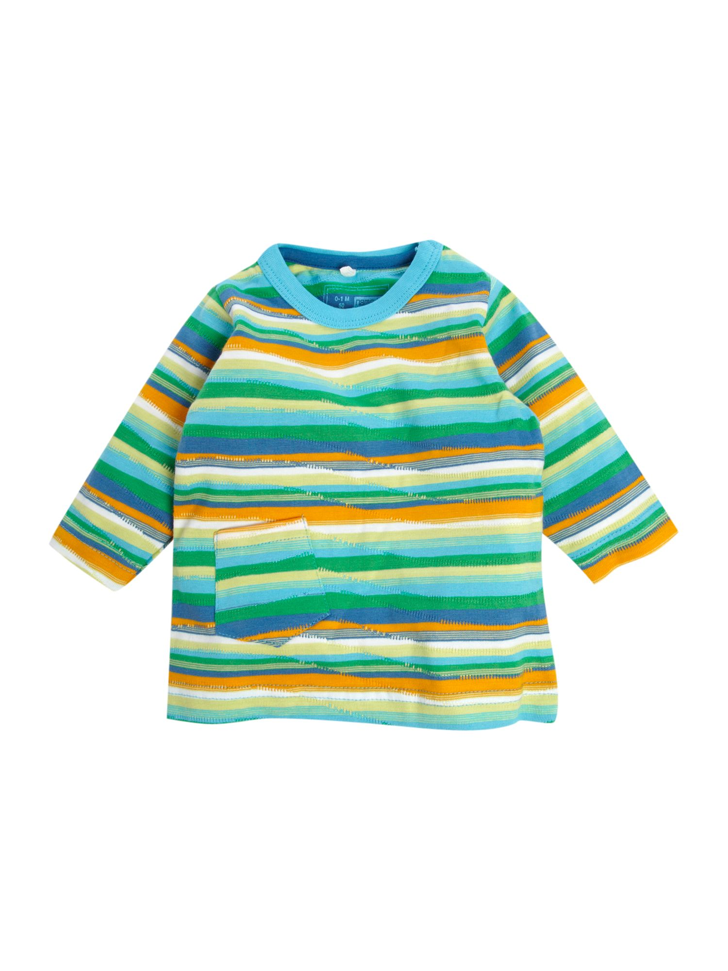 name it Short-sleeved stripedT-shirt, Turquoise product image