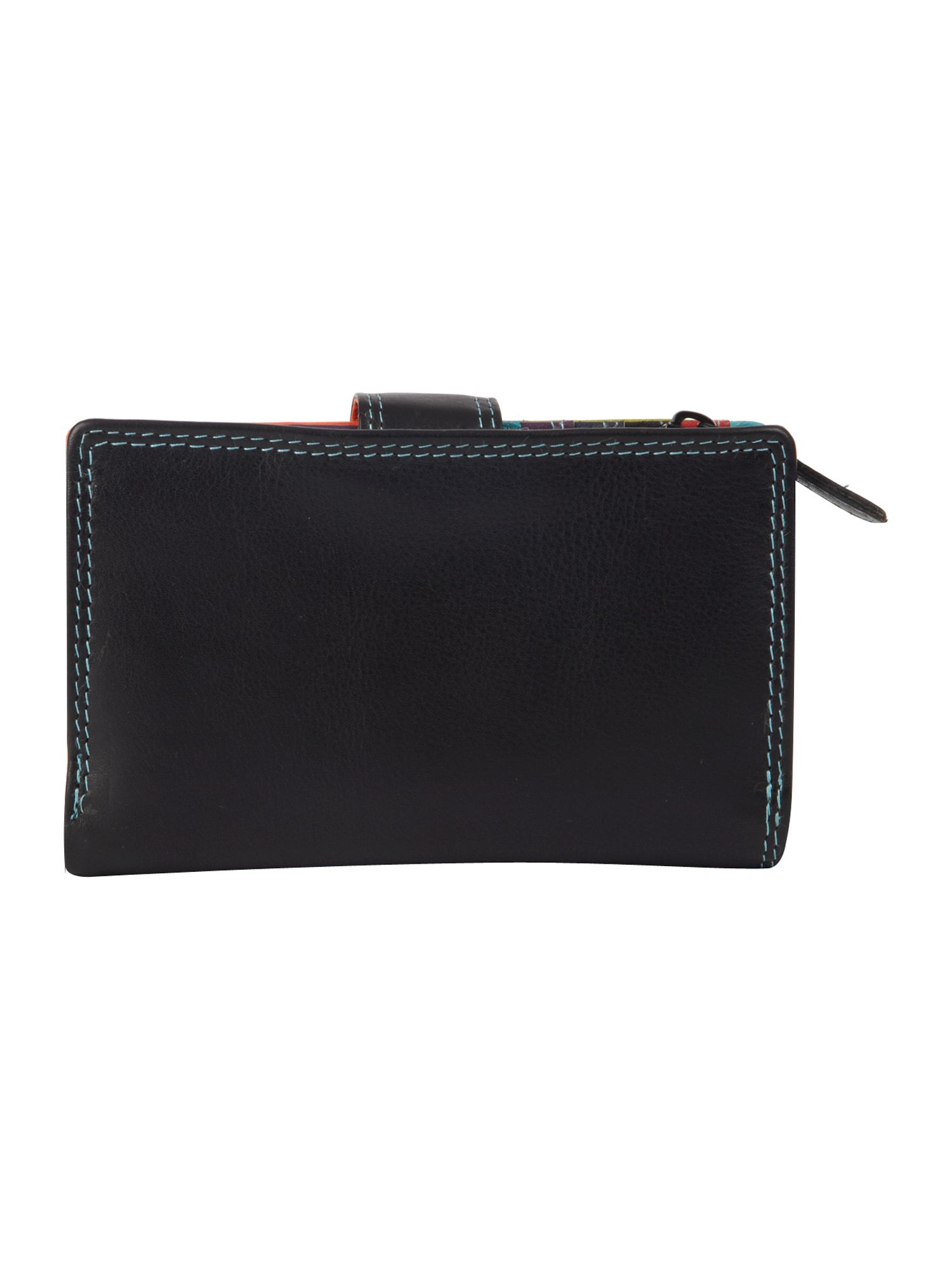 Black multi internal small flapover purse