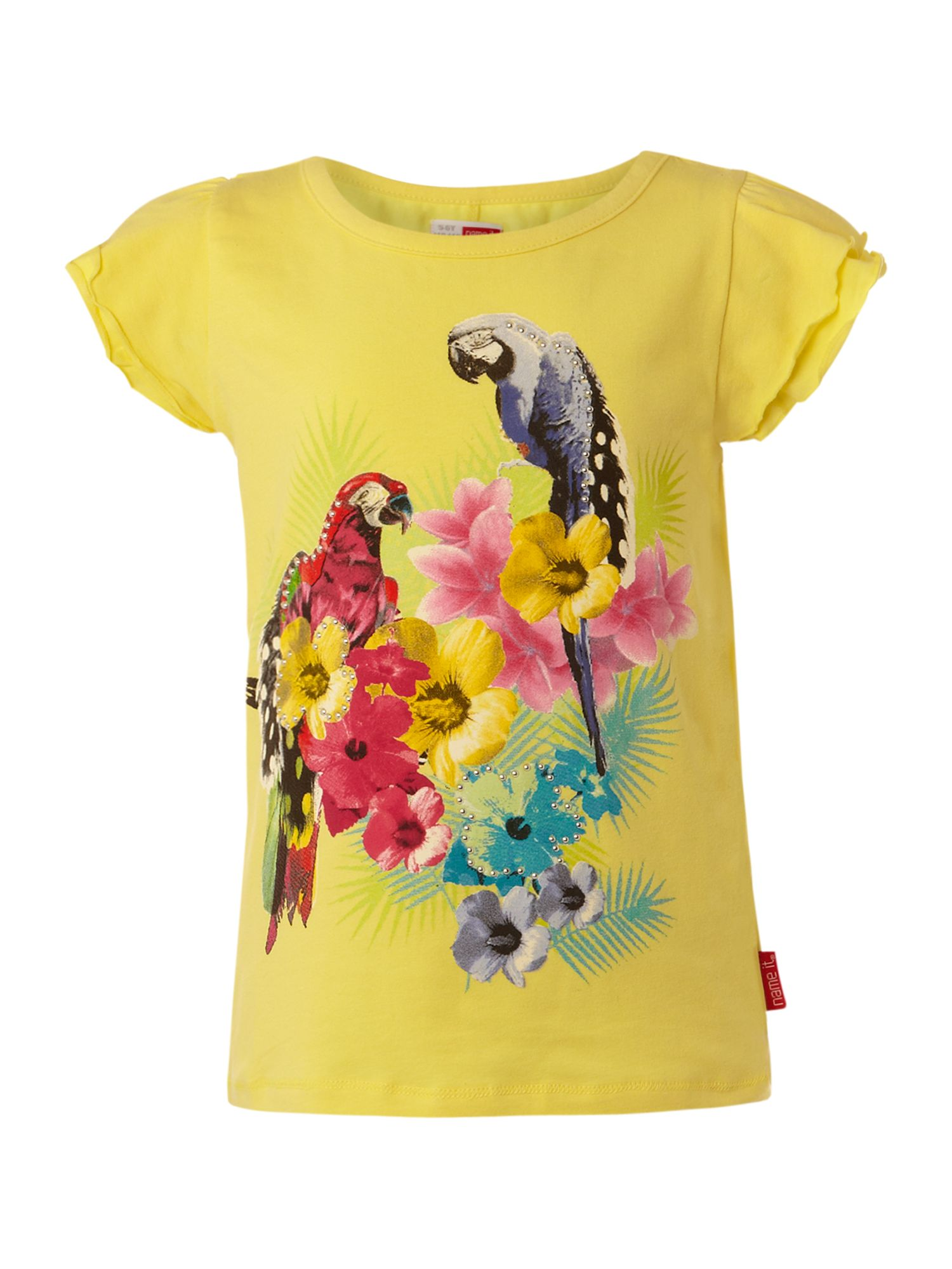 Name it short sleeved parrot printed t shirt white 6 for Name printed t shirts online