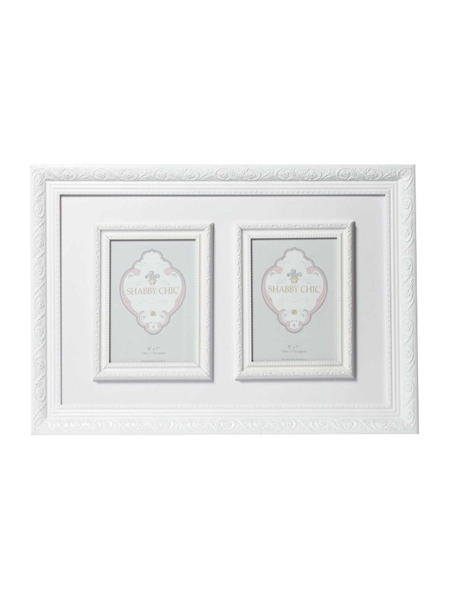 White double aperture photo frame