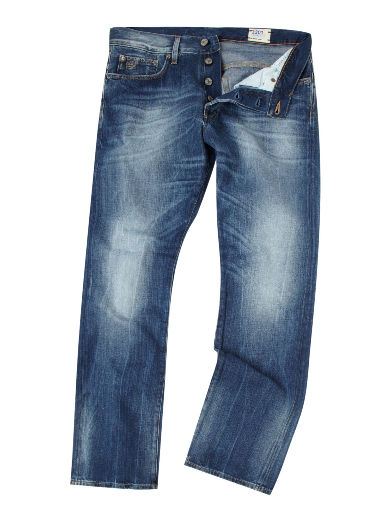 Straight leg mid blue wash jeans