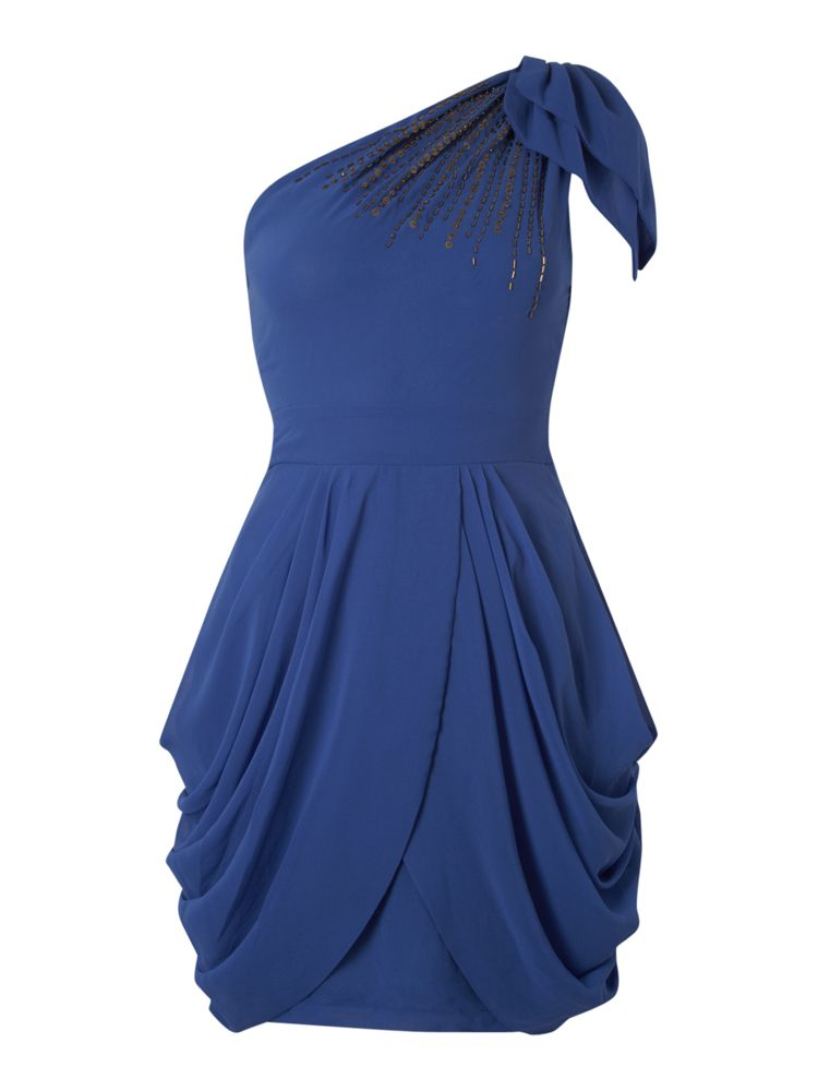 Tfnc-One-Shoulder-Embellished-Dress-In-Blue