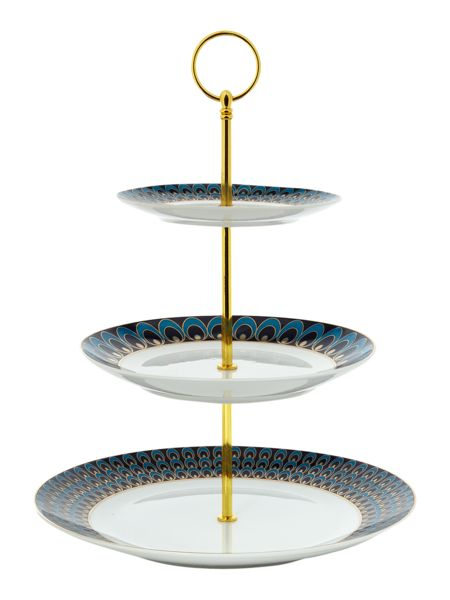 Pied a Terre Peacock three tier cakeplate