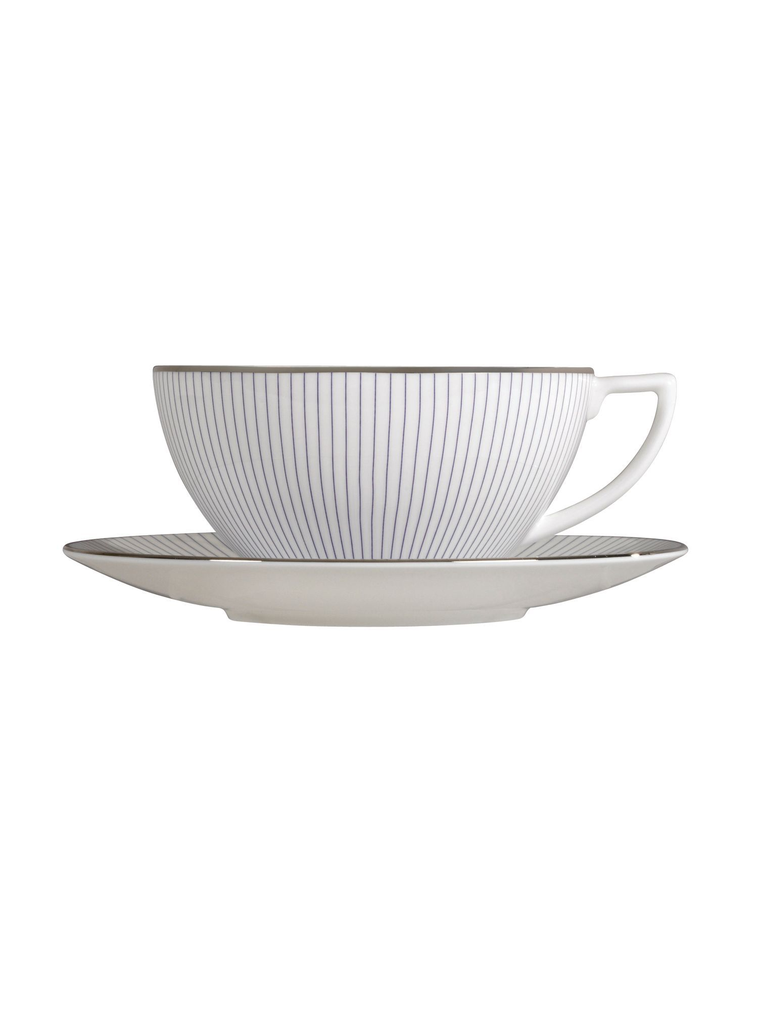 Pin stripe large tea saucer
