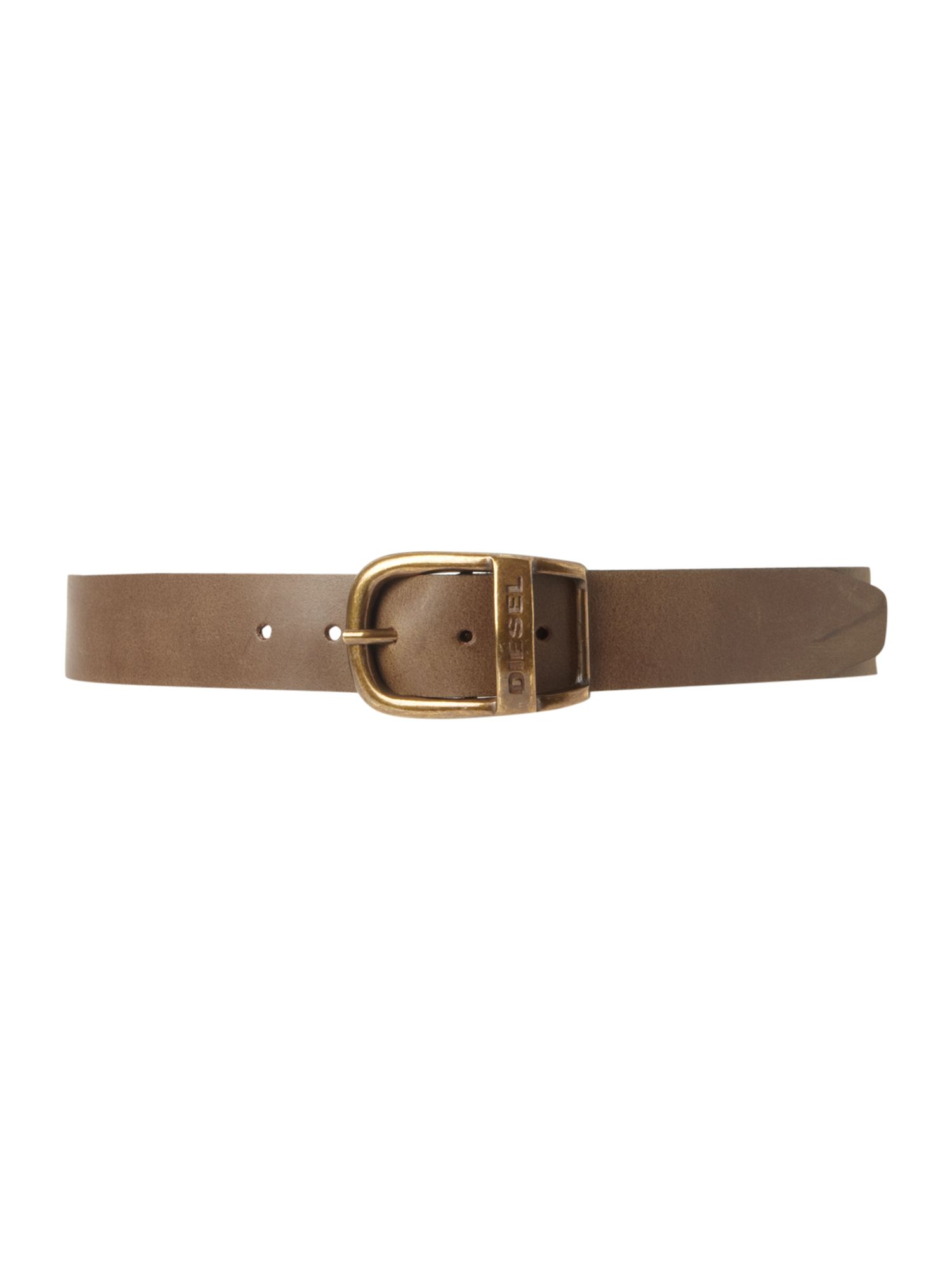 Distressed oval buckle belt