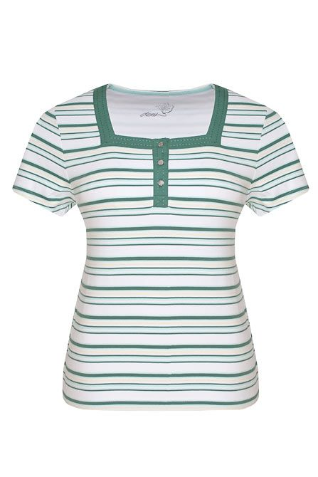 Dash Square neck stripe t-shirt - Teal product image