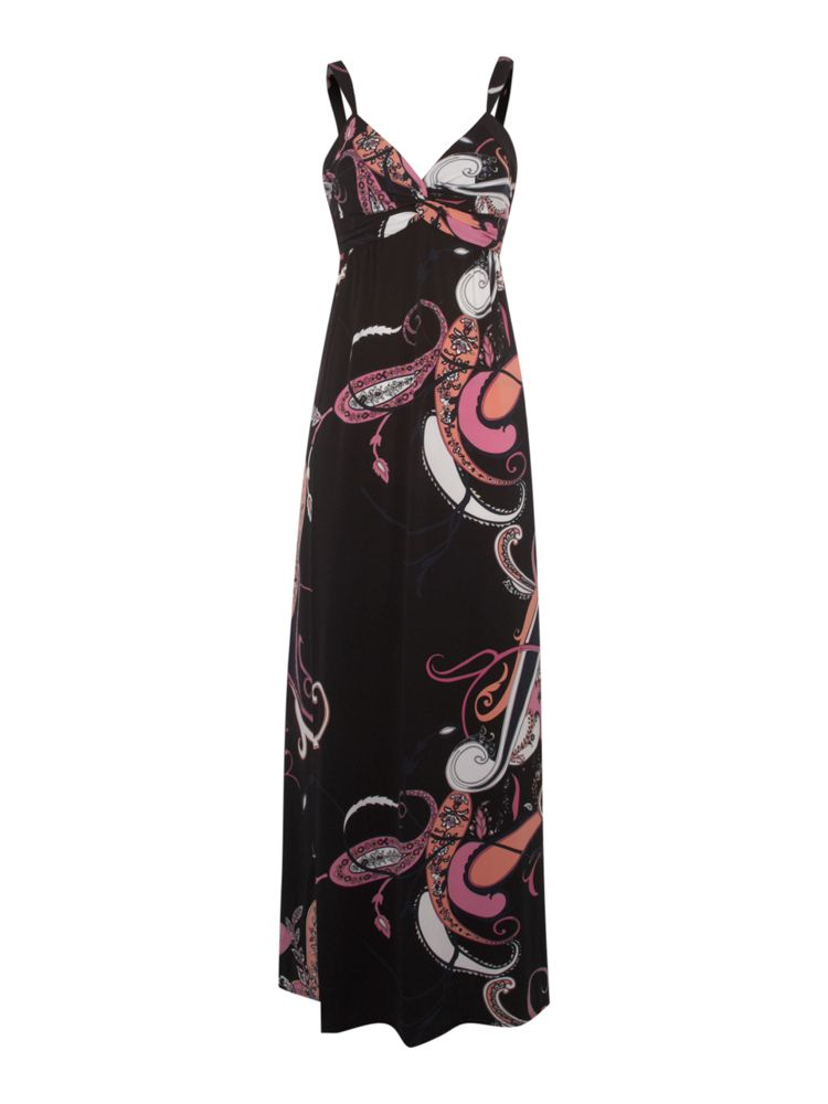 T-Tahari-Paisley-Print-Maxi-Jersey-Dress-In-Black