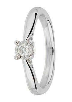 Goldsmiths 9ct Gold Brilliant Cut Diamond Ring, White Gold