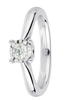 Goldsmiths 9ct Gold 0.10ct Brilliant Cut Diamond Ring, White Gold