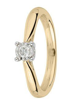 9ct Gold Brilliant Cut Diamond Ring - Gold Yellow