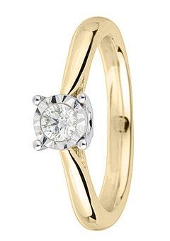 9ct Gold 0.10ct Brilliant Cut Diamond Ring - Gold Yellow