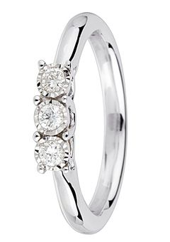 Goldsmiths 9ct Gold 0.15ct Brilliant Cut Diamond Ring, White Gold