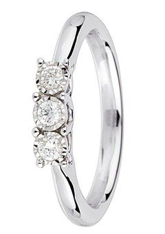 9ct Gold 0.24ct Brilliant Cut Diamond Ring - White Gold