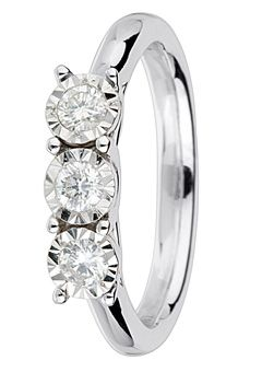 Goldsmiths 9ct Gold 0.30ct Brilliant Cut Diamond Ring, White Gold
