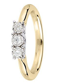 9ct Gold 0.15ct Brilliant Cut Diamond Ring - Gold Yellow