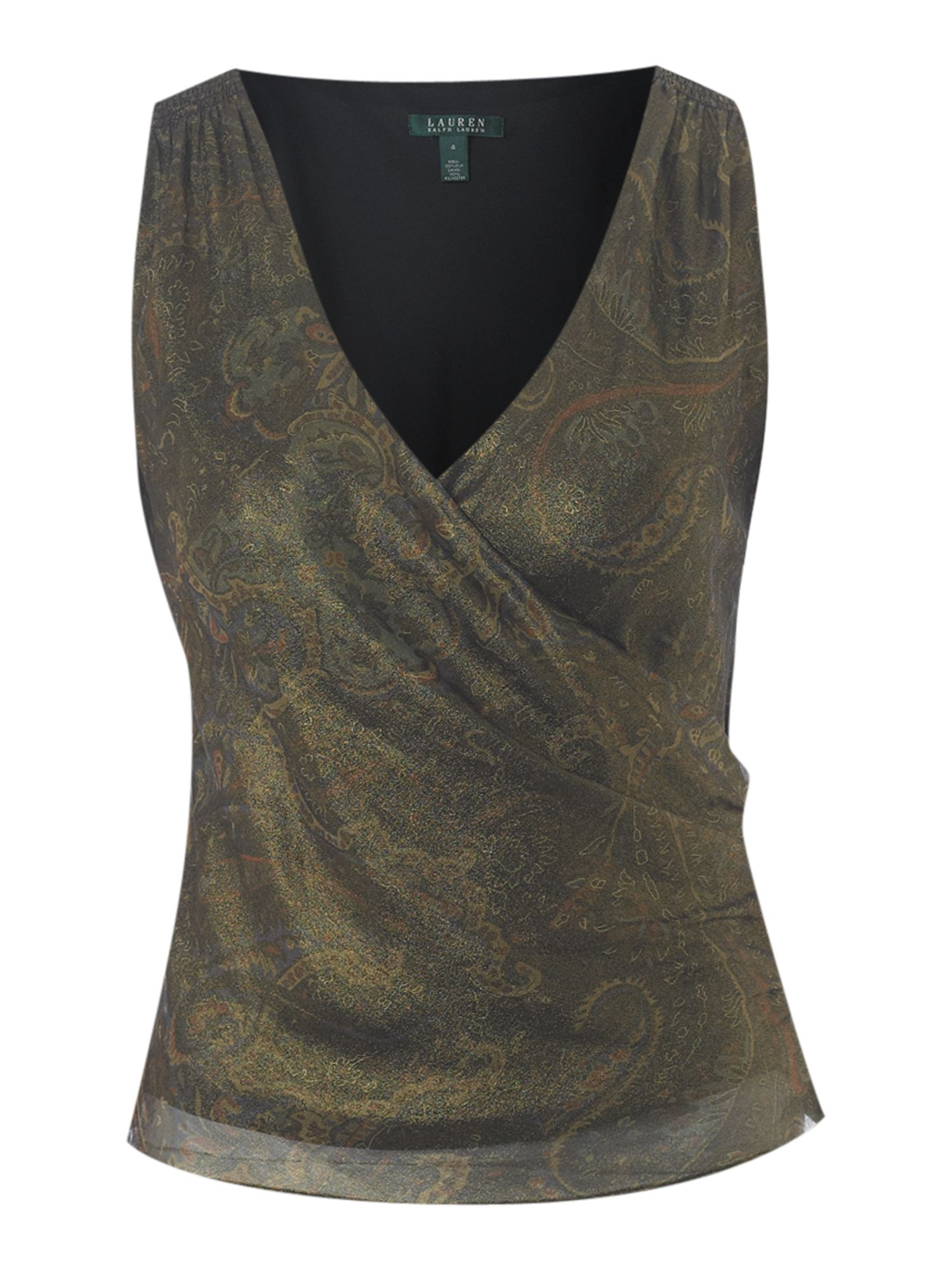 Lauren by Ralph Lauren Silk sleeveless metallic blouse - Multi-Coloured product image
