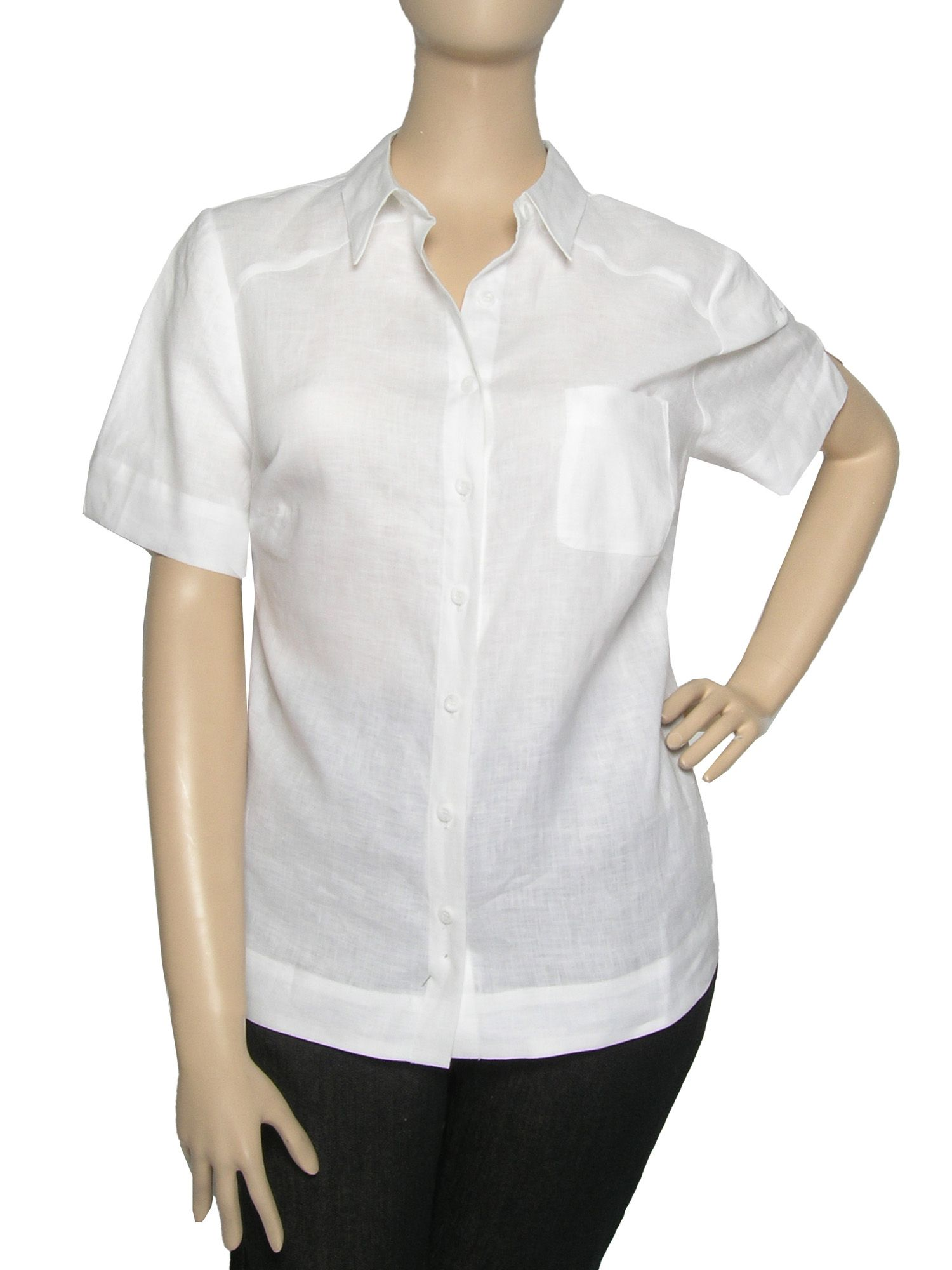 Ann Harvey Short sleeve linen blouse - White 22,22,16,16 product image