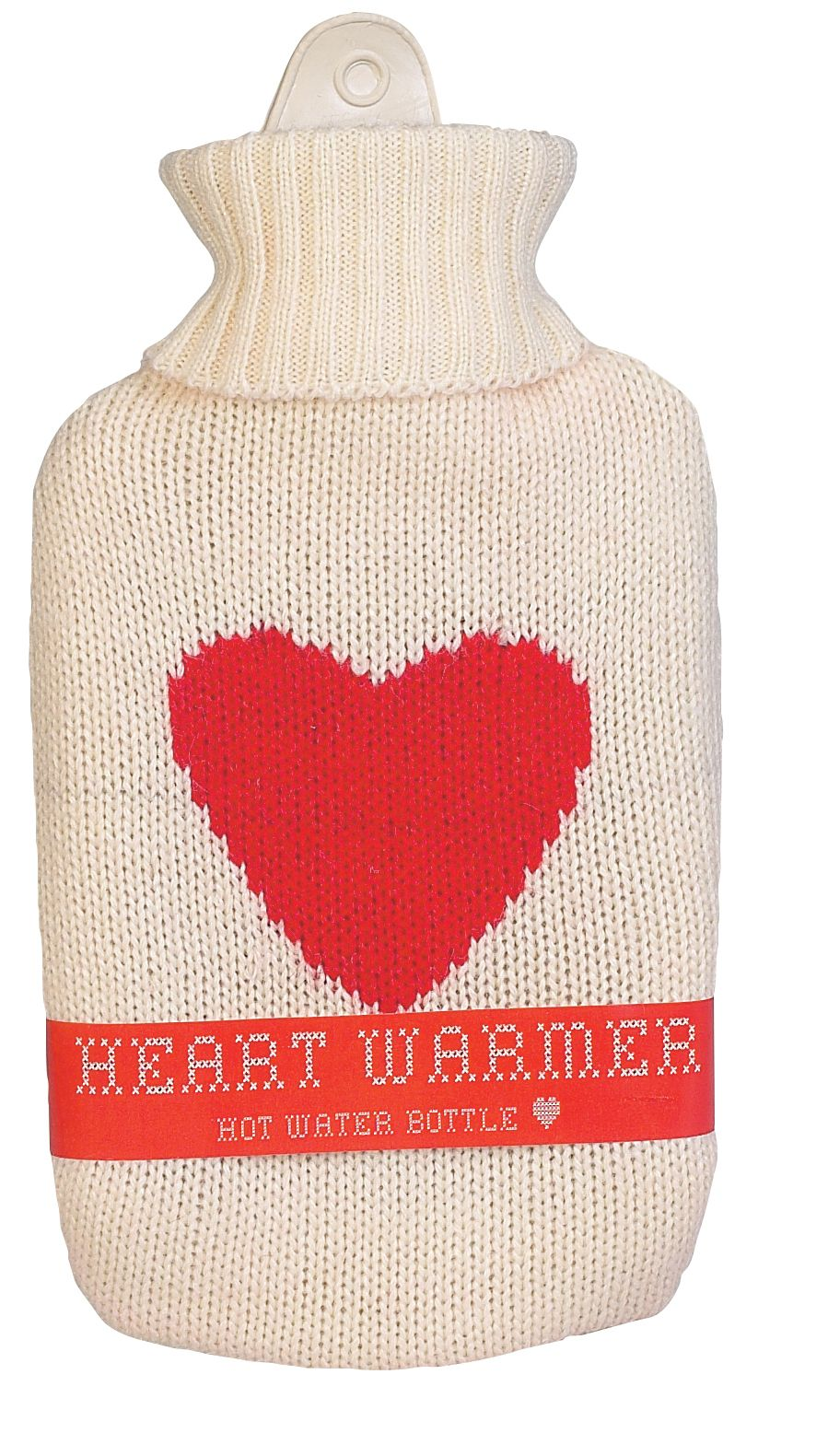 Natural Products Heart hot water bottle white