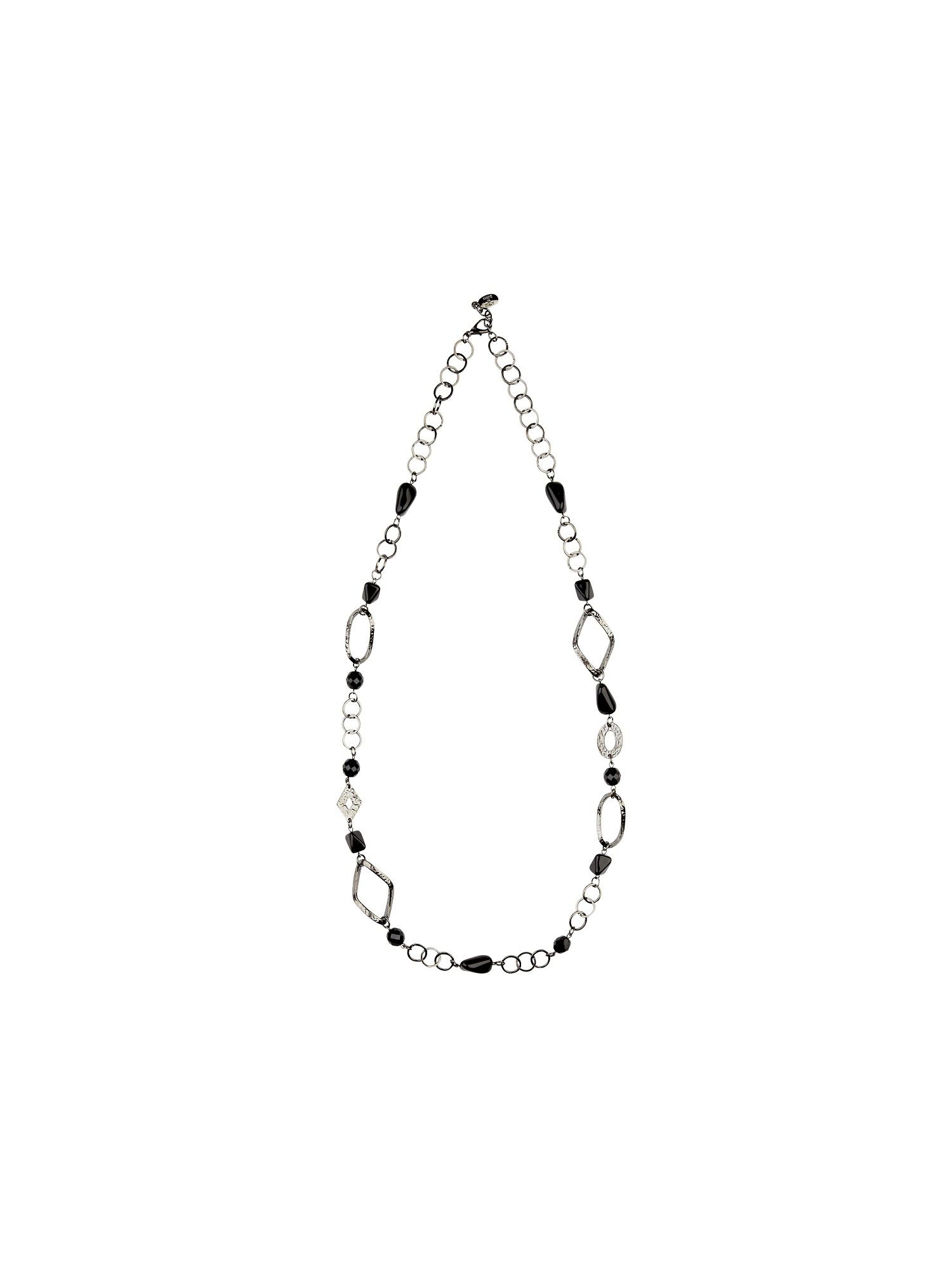 Planet Gunmetal chain bead necklace